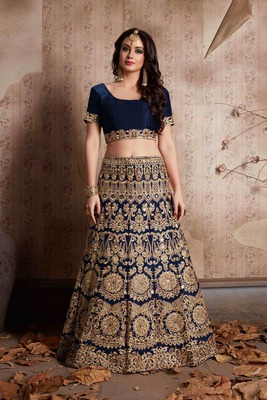 Blue embroidery velvet designer ethnic lehengas with matching blouse