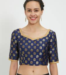 JustB Crushed Brocade Blue With Gold Padded Blouse