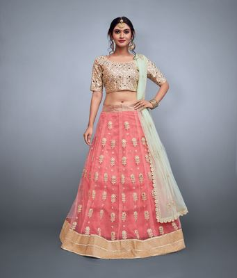 Peach embroidery net designer ethnic lehengas with matching blouse