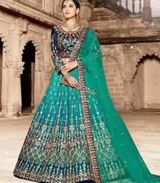 Buy Multi embroidery satin designer ethnic lehengas with matching blouse ethnic-lehenga online