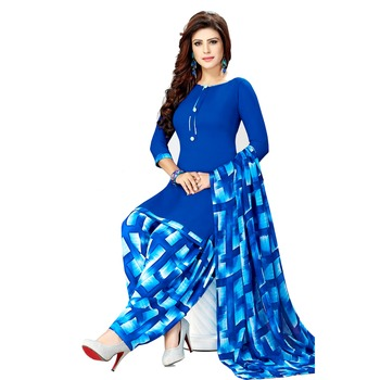 Royal Blue Printed Synthetic unstitched salwar with dupatta