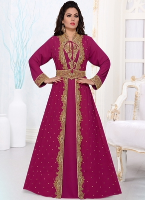 Magenta embroidered georgette islamic kaftans