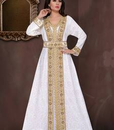 Off white embroidered georgette islamic kaftans