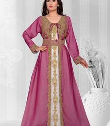 Dark onion pink embroidered georgette islamic kaftans
