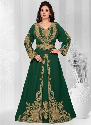 Green embroidered georgette islamic kaftans