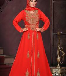 Blood red embroidered georgette islamic kaftans