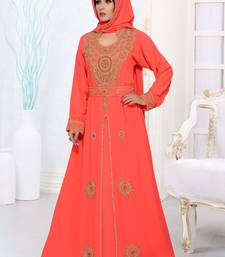 Light red embroidered georgette islamic kaftans