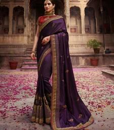 Buy Dark purple embroidered silk saree with blouse wedding-saree online