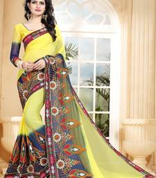 3824ee8200f6a Multicolor embroidered Georgette saree with blouse