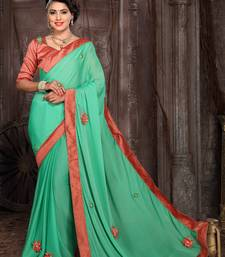 dd21d3fdbc4e7 Green embroidered art silk saree with blouse