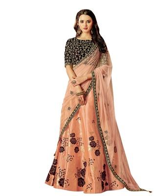 Peach color silk designer semi  stitched lehenga choli