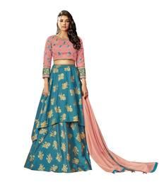 Blue Color Silk Designer Semi  Stitched Lehenga Choli