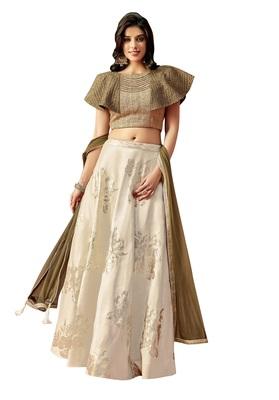 Cream Color Silk Designer Lehenga Choli