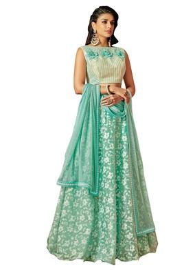 Green color tissue designer semi  stitched lehenga choli