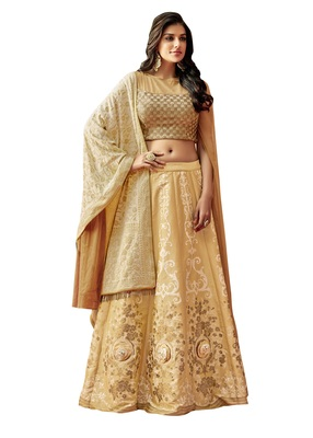 Beige Color Silk Designer Lehenga Choli