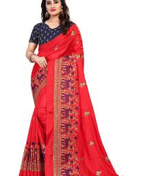 Buy Red embroidered Paper silk saree with blouse designer-embroidered-saree online