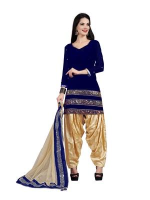 Navy-blue embroidered velvet salwar with dupatta