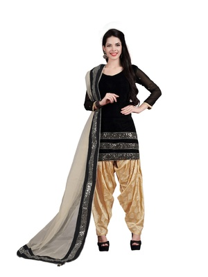 Black embroidered velvet salwar with dupatta
