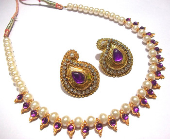 Purple kundan mango necklace set