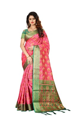 Baby pink woven patola saree with blouse