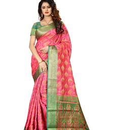 Buy Baby pink woven patola saree with blouse patola-saris online