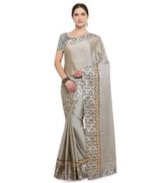 Buy Grey embroidered silk saree with blouse silk-saree online