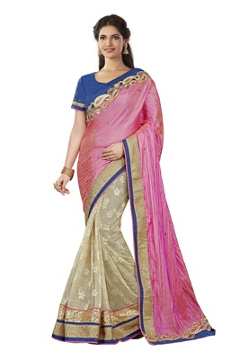 Light Pink Brasso Silk Saree With Blouse