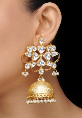 Gold Plated Polki Jhumka