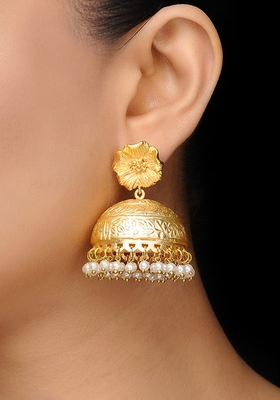 Gold Frosted Flower Jhumka