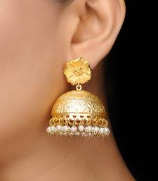 Gold Frosted Flower Jhumka jhumka