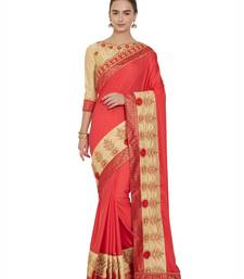 Red and beige satin georgette saree with blouse