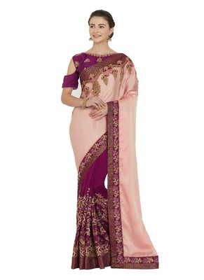 Peach and purple two tone silk and silk fabrics saree with blouse