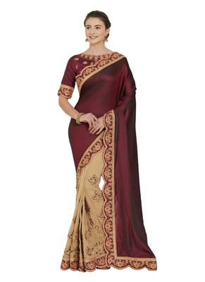 Maroon and beige two tone silk saree with blouse