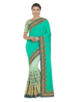 Green and lime green two tone silk and silk fabrics saree with blouse