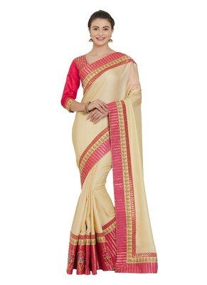 Beige two tone silk saree with blouse