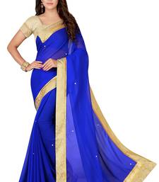 Blue plain faux chiffon saree with blouse