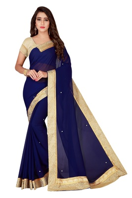 Navy blue plain faux chiffon saree with blouse