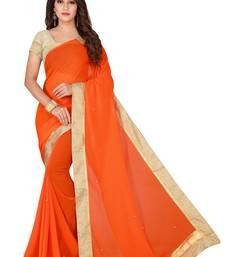 Orange plain faux chiffon saree with blouse