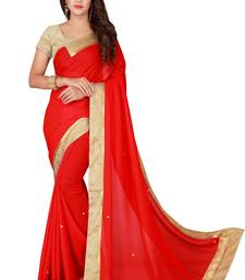 Red plain faux chiffon saree with blouse