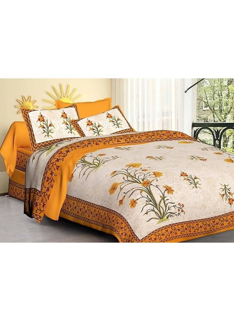 Rajasthani Sanganeri Printed Cotton Bedding Bedsheet With