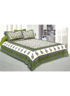 Sanganeri Jaipuri Printed Cotton Bedding Bedsheet With 2 Pillow Cover Queen Size Floral Print Bedspread
