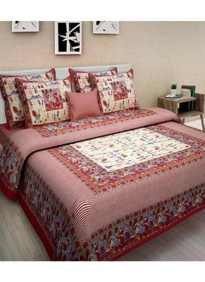 Sanganeri Printed Cotton Bedding Bedsheet With 2 Pillow Cover Queen Size Bedspread 90X108