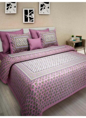 Indian Printed Queen Size Cotton Bedding Bedsheet With 2 Pillow Cover 90 X 108 Double Size