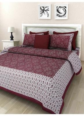 Sanganri Screen Print Queen Size Cotton Bedding Bedsheet With 2 Pillow Cover 90 X 108 Sanganeri Print