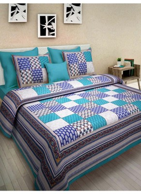 Handmade Cotton Indian Print Queen Size Cotton Bedding Bedsheet With 2 Pillow Cover Sanganeri