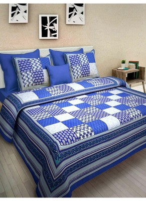 Indian Print Queen Size Cotton Bedding Bedsheet With 2 Pillow Cover Sanganeri