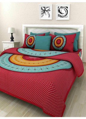 Cotton Indian Print Queen Size Cotton Bedding Bedsheet With 2 Pillow Cover Sanganeri Print