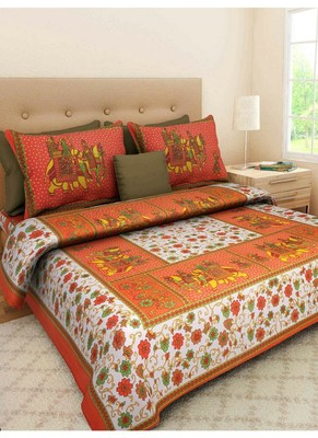 Indian Print Queen Size Cotton Bedding Bedsheet With 2 Pillow Cover Sanganeri Double Size 90 X 108