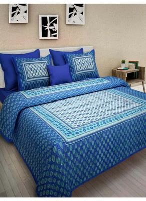 Indian Print Queen Size Cotton Bedding Bedsheet With 2 Pillow Cover Sanganeri Double Size Sanganeri Print