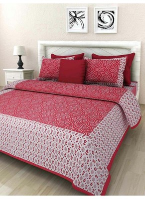 Indian Print Queen Size Cotton Bedding Bedsheet With 2 Pillow Cover Sanganeri 90X108